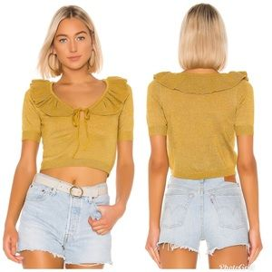 Lovers and Friends Ivy Ruffle Neck Cropped Top XL